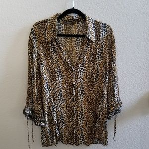 Leopard Blouse with captain sleeves